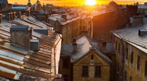 Закат с крыши Петербурга с видом на Неву - вечерняя экскурсия - уменьшенная копия фото №2